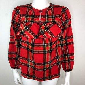 J Crew Festive Flannel Plaid Top Holiday Ruffle